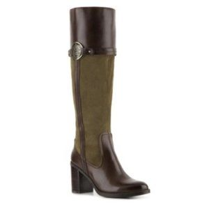 Etienne Aigner Olive Green Leather Knee Boots 8.5